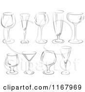 Clipart Of Grayscale Wine Glasses Royalty Free Vector Illustration