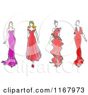 Clipart Of Sketched Fashion Models Walking In Dresses Royalty Free Vector Illustration