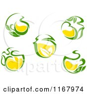 Green Tea Cups With Lemon And Leaves 2
