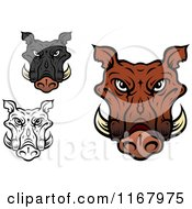 Clipart Of Tusked Boar Heads Royalty Free Vector Illustration by Seamartini Graphics