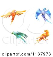 Clipart Of Origami Paper Parrots Royalty Free Vector Illustration by Vector Tradition SM