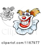Clipart Of Grinning Clowns Royalty Free Vector Illustration by Vector Tradition SM