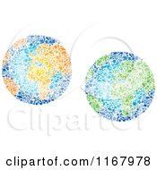 Clipart Of Globes Composed Of Recycle Items Royalty Free Vector Illustration