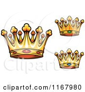 Clipart Of Gold Crowns With Rubies Sapphires And Emeralds Royalty Free Vector Illustration