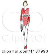 Clipart Of A Sketched Model Walking In A Red Dress Royalty Free Vector Illustration