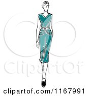 Clipart Of A Sketched Model Walking In A Teal Dress Royalty Free Vector Illustration