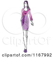 Clipart Of A Sketched Model Walking In A Purple Dress Royalty Free Vector Illustration