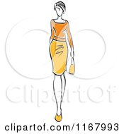 Clipart Of A Sketched Model Walking In A Yellow And Orange Dress Royalty Free Vector Illustration