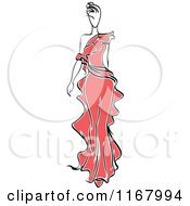 Clipart Of A Sketched Fashion Model Walking In A Red Dress 2 Royalty Free Vector Illustration