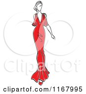 Clipart Of A Sketched Fashion Model Walking In A Red Dress 3 Royalty Free Vector Illustration