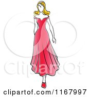 Clipart Of A Sketched Fashion Model Walking In A Red Dress Royalty Free Vector Illustration