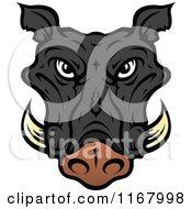 Black Tusked Boar Head