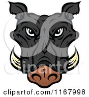 Clipart Of A Black Tusked Boar Head Royalty Free Vector Illustration