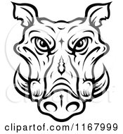 Clipart Of A Black And White Tusked Boar Head Royalty Free Vector Illustration