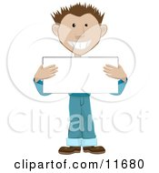 Friendly Guy Holding A Blank Placard Sign Clipart Illustration