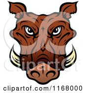 Clipart Of A Brown Tusked Boar Head Royalty Free Vector Illustration