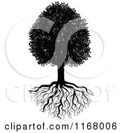 Clipart Of A Black And White Tree And Roots Royalty Free Vector Illustration by Vector Tradition SM