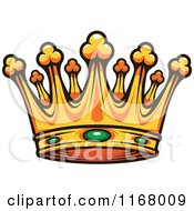 Clipart Of A Gold Crown With Emeralds Royalty Free Vector Illustration