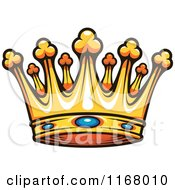 Clipart Of A Gold Crown With Sapphires Royalty Free Vector Illustration