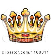 Clipart Of A Gold Crown With Rubies Royalty Free Vector Illustration