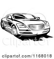 Clipart Of A Black And White Sports Car Royalty Free Vector Illustration