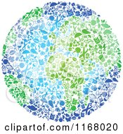 Clipart Of A Globe Composed Of Recycle Items With Green Continents Royalty Free Vector Illustration