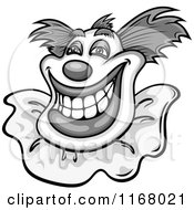 Clipart Of A Grayscale Grinning Clown Royalty Free Vector Illustration by Vector Tradition SM
