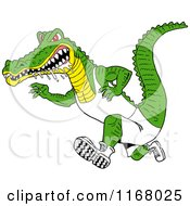 Cartoon Of A Drooling Alligator Running In Sports Apparel Royalty Free Vector Clipart by LaffToon
