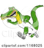 Drooling Alligator Running In Sports Apparel