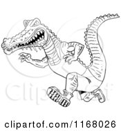 Cartoon Of A Black And White Drooling Alligator Running In Sports Apparel Royalty Free Vector Clipart by LaffToon