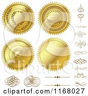 Clipart Of Golden Design Elements And Seals Royalty Free Vector Illustration by BestVector