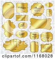 Clipart Of Golden Wedding Frames Over Gray Floral Royalty Free Vector Illustration