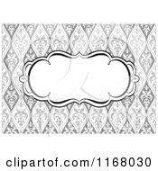 Clipart Of A Black And White Swirl Invite Frame Over A Grayscale Floral Pattern Royalty Free Vector Illustration