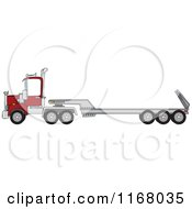 Cartoon Of A Low Boy Big Rig Truck Royalty Free Vector Clipart