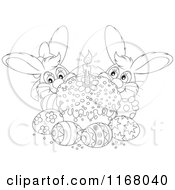 Cartoon Of An Outlined Cake With Easter Eggs And Bunnies Royalty Free Vector Clipart