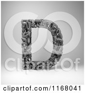 Clipart Of A 3d Capital Letter D Composed Of Scrambled Letters Over Gray Royalty Free CGI Illustration by stockillustrations
