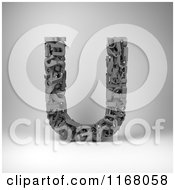 Clipart Of A 3d Capital Letter U Composed Of Scrambled Letters Over Gray Royalty Free CGI Illustration