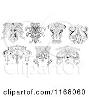 Clipart Of Vintage Black And White Floral Design Elements Royalty Free Vector Illustration by pauloribau