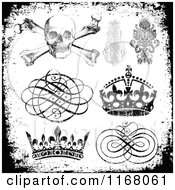 Clipart Of Black Design Elements With White Distress Overlay Royalty Free Vector Illustration