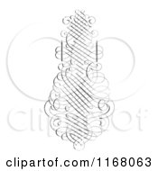 Clipart Of A Vertical Black Ornate Swirl With White Distress Overlay Royalty Free Vector Illustration