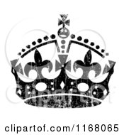 Clipart Of A Black Crown With White Distress Overlay Royalty Free Vector Illustration