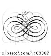 Clipart Of A Black Ornate Swirl With White Distress Overlay 2 Royalty Free Vector Illustration