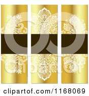 Vintage Gold And Brown Floral Invite Banners With Copyspace