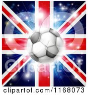 Clipart Of A Soccer Ball Over A Union Jack With Fireworks Royalty Free Vector Illustration by AtStockIllustration