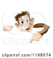 Happy Monkey Pointing Down At A Sign