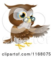 Cartoon Of A Pointing Owl With Spectacles Royalty Free Vector Clipart by AtStockIllustration