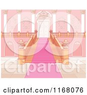 Cartoon Of A Pink Carpet Leading Up A Principal Staircase Royalty Free Vector Clipart