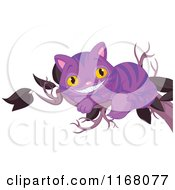 Cartoon Of A Purple Grinning Cheshire Cat On A Tree Branch Royalty Free Vector Clipart by Pushkin