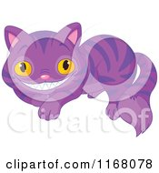 Cartoon Of A Resting Purple Grinning Cheshire Cat Royalty Free Vector Clipart by Pushkin