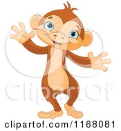 Cartoon Of A Cute Monkey With Open Arms Royalty Free Vector Clipart by Pushkin